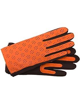 Modischer Handschuh für Damen mir floraler Perforation in orange braun
