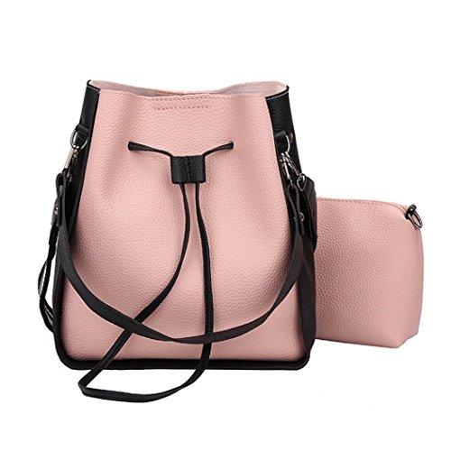 Longra Solid Color Moda donna PU cuoio due set borsetta Borse spalla due pezzi tote bag borsa crossbody Rosa