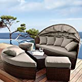 Venus Round Garden Sofa Daybed | Circular Design With Folding Canopy | Jarder UK