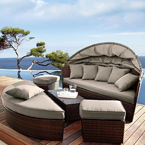 Venus round garden sofa daybed circular design with for Outdoor lounge bed with canopy