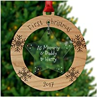 PERSONALISED First Christmas as MUMMY DADDY Xmas Tree Decoration Bauble Ornament Gifts - Cherry Veneer and Acrylic Engraved Christmas Tree Ornament - Keepsake Christmas Gifts Presents