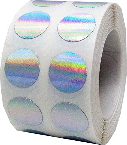 Plata Holograma Punto Pegatinas, 13 mm 1/2 Pulgada Redondo, 1000 Etiquetas en un Rollo
