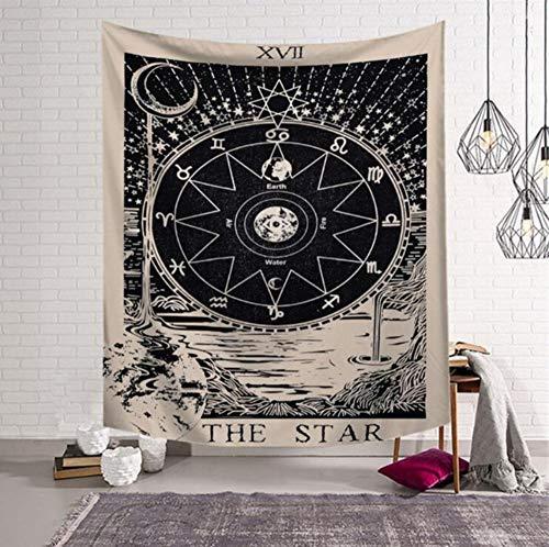 päischen Wandbehänge Hexerei Gobelin Sun Moon Star Schlafsaal Zimmer Kopfteil Arras Teppich Yoga-Matte, (W) 150X(H) 200Cm ()