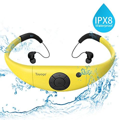 Tayogo MP3-Player, wasserdicht, mit Kopfhörern, 8 GB IPX8 Hi 3 m unter Wasser schwimmen Wasserdicht 60 ℃ ideal zum Laufen, Reiten und andere Spa mit Wasser oder Sweat (Gelb)