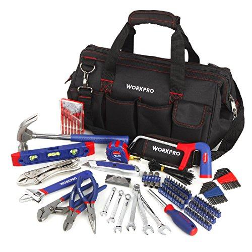 WORKPRO Home Reparatur Werkzeug Set Tägliche Handwerkzeuge mit offenen Mund Werkzeugtasche 156-teilig -