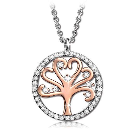 Kami Idea Damen Kette 925 Sterling Silber Baum des Lebens Vergoldete Kristall Halskette, Geburtstag Valentines Mütter Tag Ruhestand Jahrestag Geschenke für Muttertag Tochter
