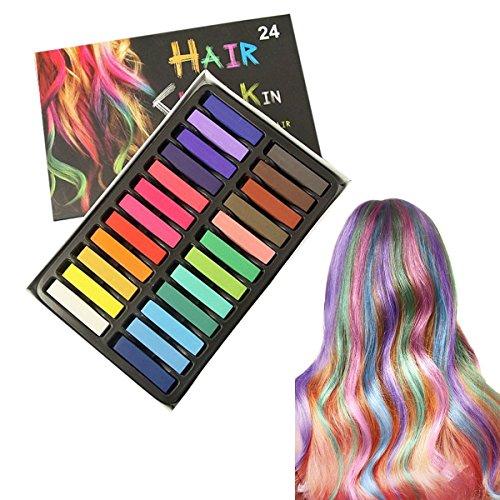 Uctop Store Haarkreide in 24 Farben, auswaschbar, lebendige Farben für ausgefallene Haardesigns, zu Halloween, Weihnachten oder zu Partys