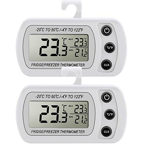 Pack de 2 Thermomètre Réfrigérateur Congélateur LCD Digital avec Crochet Plage de Mesures -20°C à +50°C (-4°F à +122°F) avec Grande Précision (± 1° C ...