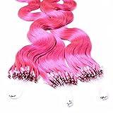 hair2heart 25 x Microring Loop Extensions aus Echthaar, 60cm, 0,5g Strähnen, gewellt - pink