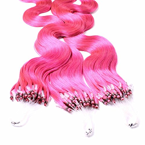 hair2heart 25 x 0.5g Echthaar Microring Loop Extensions, 60cm - gewellt - #pink - Micro Loop-hair Extensions Rosa