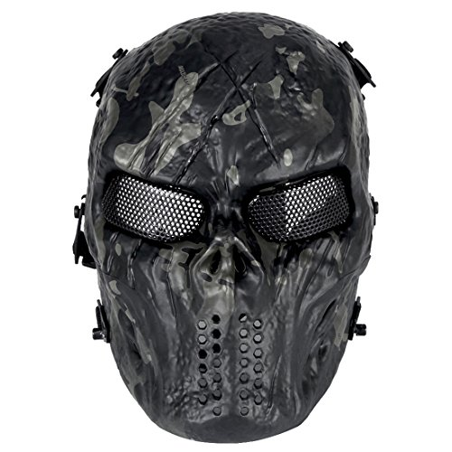 YxFlower Totenkopf Maske Motorrad - Schutzmaske für Motorrad /Cosplay/Halloween/CS Maske für Nerf Airsoft Paintball Kinder (Kinder Halloween Masken)
