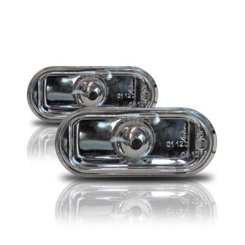 2x Klarglas Seitenblinker Blinker Chrom Silber TÜV FREI 01 Ford Focus Antenne