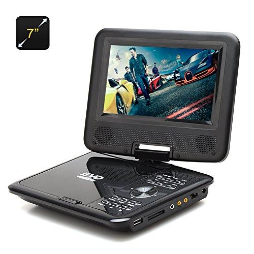 BW 7pulgadas reproductor de DVD portátil para niños–función del juego, radio FM, antena de TV, Multi Formato apoyo, pantalla giratoria (negro)