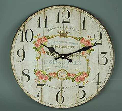 Vintage Style Cream and Gold Chintz Rose Wall clock with Pink Roses French Parfum Floral