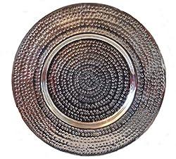 HKT Home Deco Dekoteller !! ca. 38cm !! Platzteller Teller Tablett Alu Deko Dekoration Edel Deko Aluminium silber