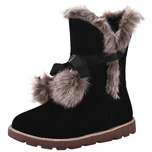wealsex Bottes Fourrées Avec Pompon Mi Mollet Plate Femme Bottine de Neige Chaud Chaussure Hiver Confort Mode Grande Taille 40 41 42 43