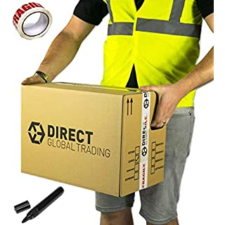 10 Strong Cardboard Storage Packing Moving House Boxes Double Walled with Fragile Tape and Black Marker Pen 46cm x 31.5cm x 31.5cm 18.4'' x 12.6'' x 12.6''