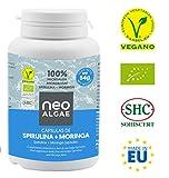 Capsules de Moringa et Spiruline | Effet dépuratif de la spiruline et de la combustion des graisses du moringa | Production 100% écologique |350 mg par capsule | 120 capsules par contenant