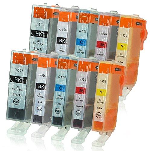 Canon Ersatz-farbe-tinte (10 Druckerpatronen mit Chip und Füllstandsanzeige kompatibel zu Canon PGI-525 / CLI-526 (2x Schwarz breit, 2x Schwarz schmal, 2x Cyan, 2x Magenta, 2x Gelb) passend für Canon Pixma IP-4850 IP-4950 IX-6550 MG-5140 MG-5150 MG-5240 MG-5250 MG-5300 MG-5340 MG-5350 MG-6150 MG-6200 MG-6250 MG-8150 MG-8200 MG-8240 MG-8250 MX-710 MX-715 MX-885 MX-890 MX-895)