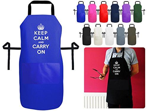 Keep Calm and Carry On Schürze für Backen, Küche und BBQ–PREMIUM Faserglas Schürze mit Tasche, Baumwolle/Polyester-Baumwoll-Mischgewebe, a. Royal Blue Polycotton, Medium 70cm x 56cm (Snap Royal Blue)