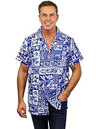 King Kameha | Funky Chemise Hawaïenne | Hommes | XS - 12XL | Manche-Courte | Poche-Avant | Hawaiian-Imprimer | Puzzle |Bleu