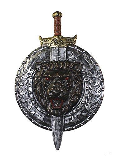 Männer Samurai Kostüme (SUPER SCHILD UND SCHWERT FÜR EINE GLADIATOR & GRIECHEN VERKLEIDUNG=VON ILOVEFANCYDRESS®=DAS SCHILD HAT EINEN DURCHMESSER VON UNGEFÄHR 49cm UND DAS SCHWERT IST UNGRFÄHR 74cm LANG=SILBER/SCHWARZ ARMSCHILD MIT)