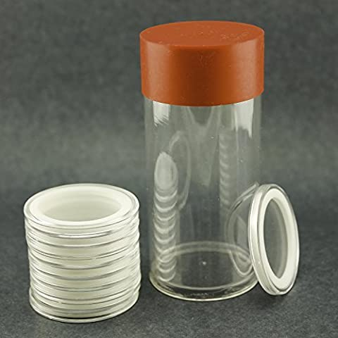 (1) Airtite Coin Holder Storage Container & (10) White Ring 16mm Air-tite Coin Holder Capsules (16 Mm Coin)