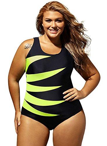 Aleumdr Damen Einteiler Wassersport Figuroptimizer Sport Gestreift Badeanzug Monokini Gelb Large -