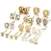 Topdo 2018 - Juego de 12 pares de pendientes de tuerca de circonita cuadrada con forma de corazón y diamante para mujeres y niñas, regalo de joyería dorado