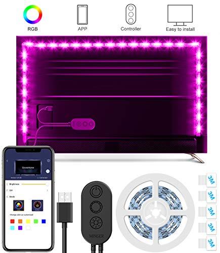 RGB TV Hintergrundbeleuchtung, MINGER 2M USB LED Band, 5050 Led Stripe TV  Beleuchtung Kit APP Gesteuerte Neon Fernseher Ambient Lichter, Multifarben  LED ...