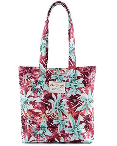 [HotStyle con stampa] Floral Design–Borsa shopper Borsa a tracolla, S012, Green (multicolore) - HTSUS012B S012B, Rosso