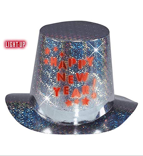 rty Hut mit LED Belecuhtung Happy New Year ()