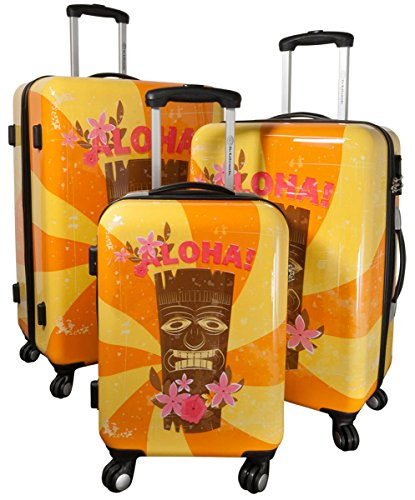 Kofferset Gepäckset Polycarbonat ABS Hartschalen Koffer 3tlg. Set Trolley Reisekoffer Reisetrolley Handgepäck Boardcase PM (Hawaii Tiki)