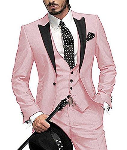 O.D.W Herren Übergrößen Anzug Glanzanzug Sakko mit Hose Weste Sakko Männeranzug Hochzeit 3-Teilig (Rosa,48) (3-teiliges Samt-anzug)