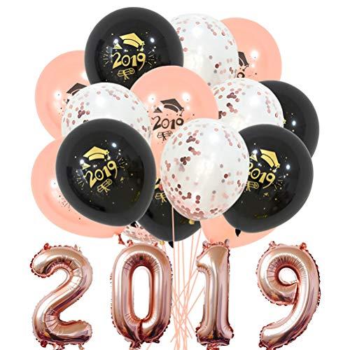 Amosfun 19 stücke Latex Ballons 2019 Brief Banner Ballons Runde Konfetti Ballons Helium Ballons für Abschlussfeier Party Supplies Decor (Rose Gold)