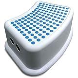 Addis–Taburete de baño Booster paso, blanco/azul, 24x 36,5x 13cm