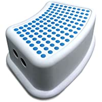Addis Kids Bathroom Booster Step Stool, White/Blue, 24 x 36.5 x 13 cm