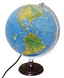 Replogle Toledo blu oceano illuminato desktop globo con finitura in legno di ciliegio base (30,5cm/30cm di diametro)