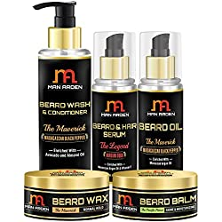 Man Arden The Maverick Beard Care Kit: Beard Shampoo + Beard Oil + Beard serum + Beard Wax + Beard Balm