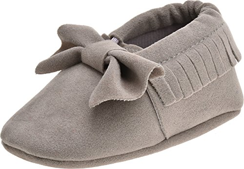 ZOEREA Super weich Rauleder Anti-Rutsch Lauflernschuhe Krabbelschuhe Babyschuhe Kinderschuhe Krippe Schuhe für Laufanfänger Baby Mädchen Jungen 0-18 Monate Grau