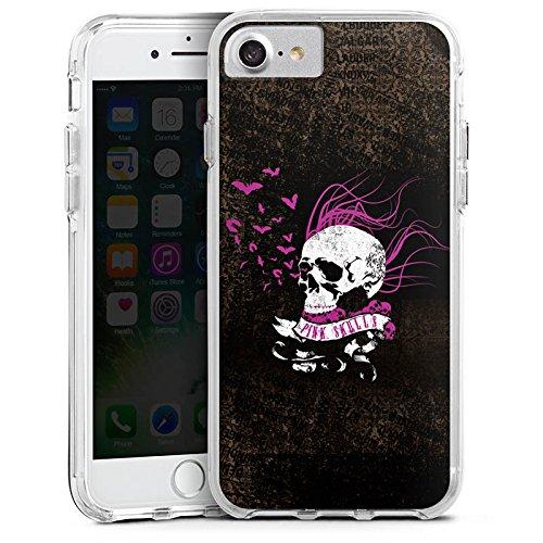 Apple iPhone 8 Bumper Hülle Bumper Case Glitzer Hülle Skull Totenkopf Black Bumper Case transparent
