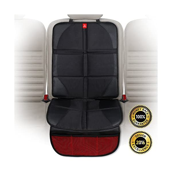 Royal Rascals Car Seat Protectors for Child Seats - Protects Upholstery from Stains & Damage with Padded Cover - Organiser Pockets - Universal & fits Isofix - Forward and Rear Facing Baby Seat Liner 1