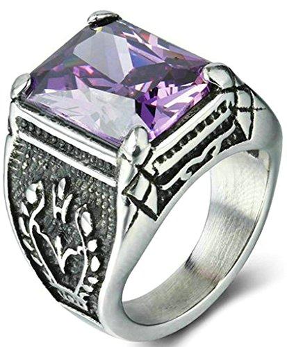 Coniea Anillo de Boda Acero Rectángulo Rectángulo Vintage Cristal Púrpura Anillos Violeta Talla 25