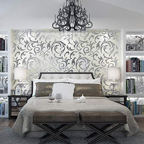 Yazidan 1x 10M Luxus Silber 3D Damast geprägte Tapetenrollen Art Decor Deko für Wohnzimmer Schlafzimmer Küche Flur Aufkleber Wandaufkleber Wandtattoos Malen Wanddeko Wandkunst - Damast-baumwolle-abdeckung