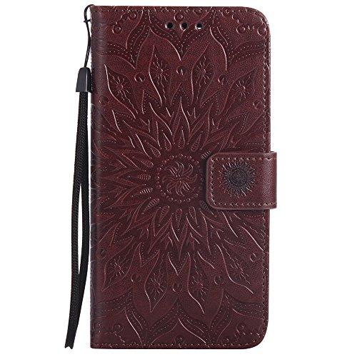 Für Google Pixel XL Fall, Prägen Sonnenblume Magnetic Pattern Premium Soft PU Leder Brieftasche Stand Case Cover mit Lanyard & Halter & Card Slots ( Color : Pink ) Brown