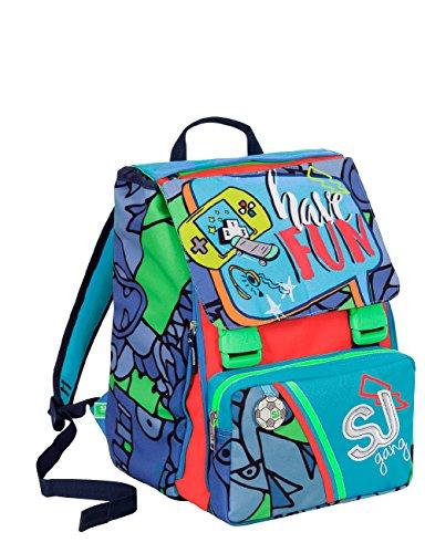Zaino scuola sdoppiabile sj gang - boy - blu azzurro rosso - flip system - 28 lt elementari e medie 3 pattine sfogliabili