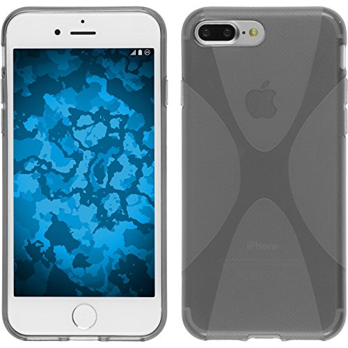 PhoneNatic Case für Apple iPhone 7 Plus Hülle Silikon lila X-Style Cover iPhone 7 Plus Tasche + 2 Schutzfolien Grau