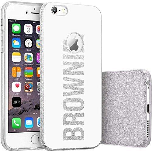 finoo | iPhone SE Silberne bedruckte Rundum 3 in 1 Glitzer Bling Bling Handy-Hülle | Silikon Schutz-hülle + Glitzer + PP Hülle | Weicher TPU Bumper Case Cover | Pusteblume Brownie White