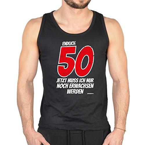 Herren Tank Top zum 50. Geburtstag - Endlich 50 jetzt muß ich nur noch erwachsen werden - Trägershirt Schwarz