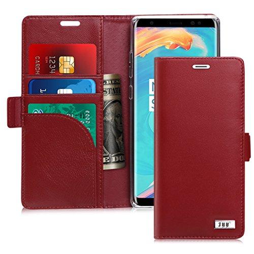Note 8, Galaxy Note 8Hülle, fyy [RFID-blockierender Wallet] Premium Echt Leder 100% Handarbeit Wallet Case Kreditkarte Displayschutzfolie für Samsung Galaxy Note 8(2017), A-Genuine-Wine Red